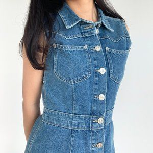 Urban Outfitters Western Denim Button-Front Mini Dress